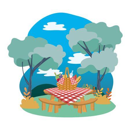 Picnic basket in forest design Ilustracja