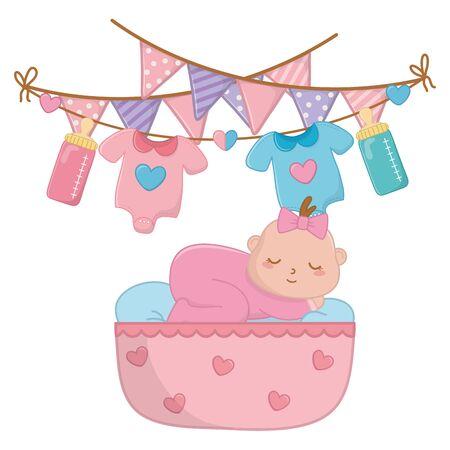 baby sleeping in a cradle vector illustration Stock fotó - 138101571