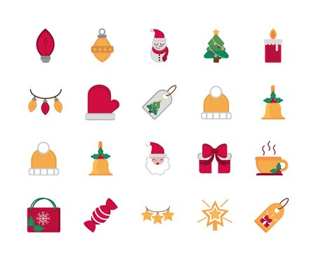 Feier Dekoration Frohe Weihnachten Icons Sammlung