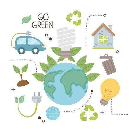 Planet and save energy  icon set design Çizim