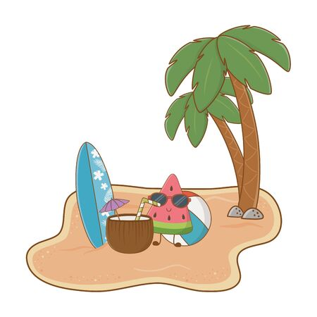 Summer and beach cute cartoons Иллюстрация
