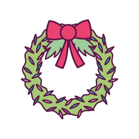 wreath ribbon foliage decoration merry christmas icon Ilustrace