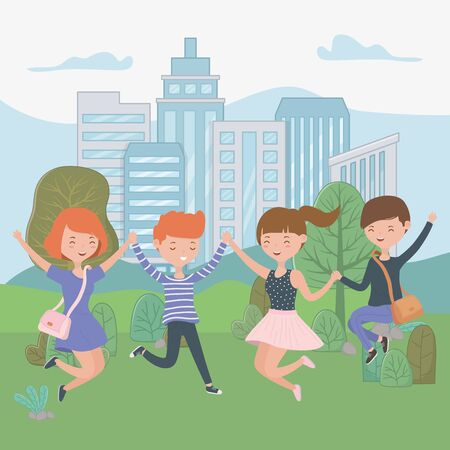 Teenager boys and girls cartoons design