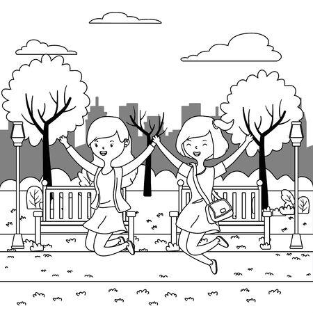 Teenager girls cartoons design vector illustrator Ilustrace