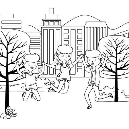 Teenager boys cartoons design vector illustrator