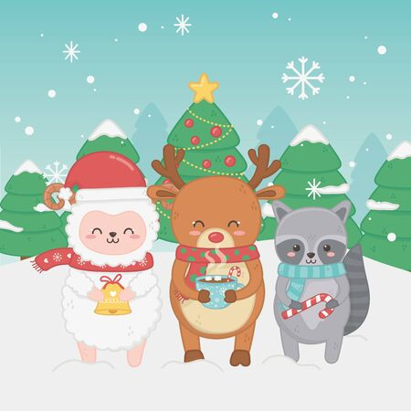 happy merry christmas card with group of animals