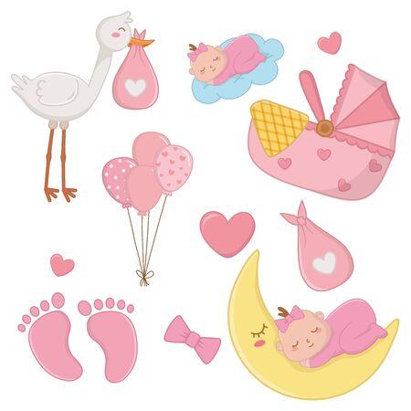 set of newborn baby elements vector illustration