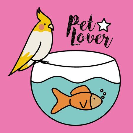cute ornamental fish in aquarium with bird 向量圖像