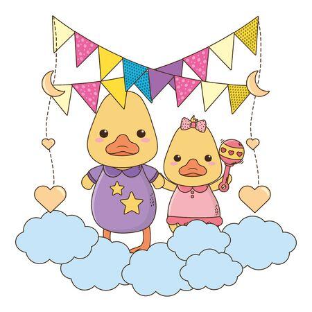 Isolated baby ducks cartoons design Ilustrace
