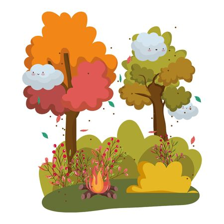 Isolated camp fire vector design