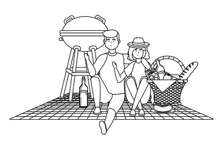Couple of woman and man having picnic design Illustration