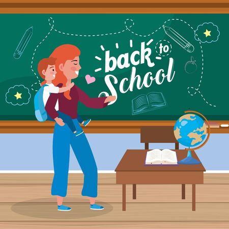 mother with her girl student and desk with book to back to school vector illustration Ilustracja
