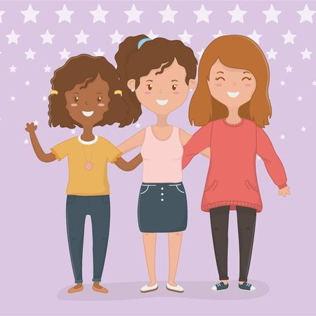 Girls cartoons design, Firiendship together friends happy people and young theme Vector illustration Ilustrace