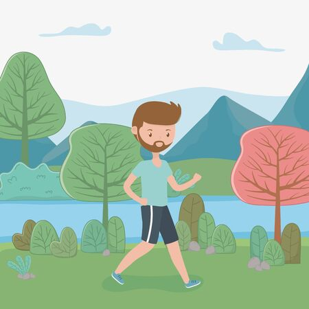 young man walking in the landscape Illustration