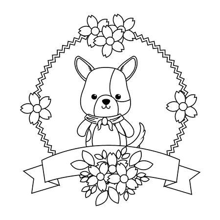 Dog cartoon with kerchief design, Animal cute zoo life nature and fauna theme Vector illustration