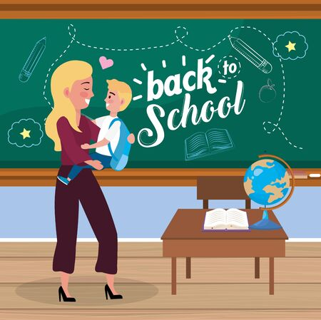 mother with her boy student with backpack and desk to back to school vector illustration