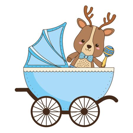 Baby reindeer cartoon design, Baby shower invitation party card and decoration theme Vector illustration