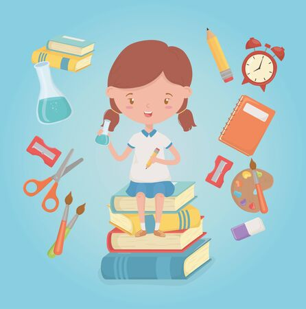 little student girl with school supplies vector illustration design 일러스트