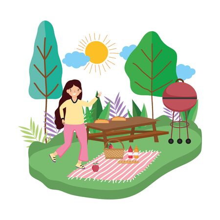 Woman cartoon having picnic design, Food summer outdoor leisure healthy spring lunch and meal theme Vector illustration Foto de archivo - 138200631