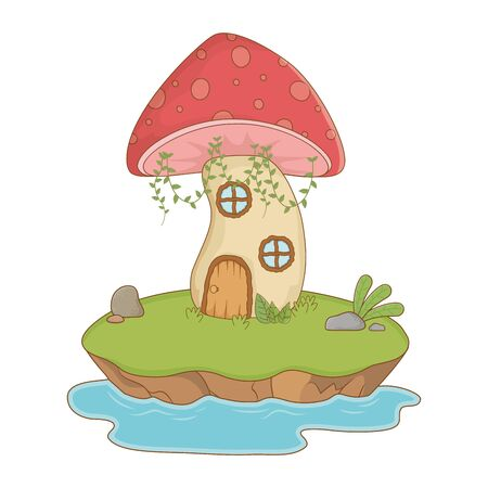 Mushroom house design, Fairytale history medieval fantasy kingdom tale game and story theme Vector illustration