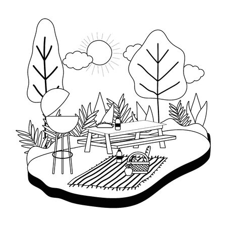 Picnic table design, Food summer outdoor leisure healthy spring lunch and meal theme Vector illustration Foto de archivo - 138202166