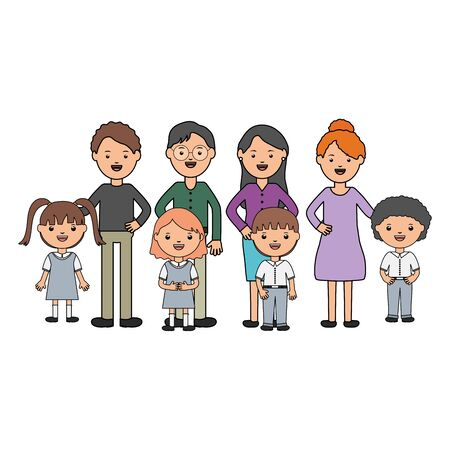 cute little students group with teachers