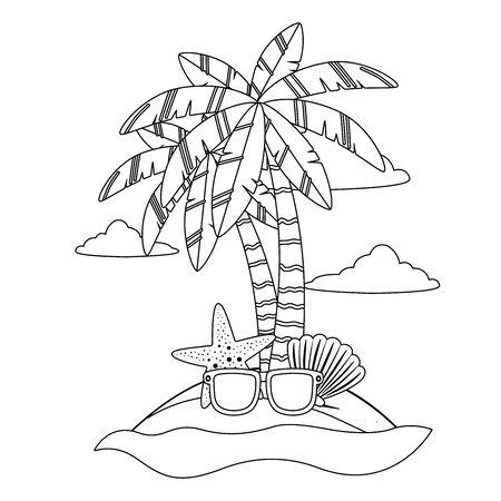 Palm tree of summer season design vector illustration Ilustração