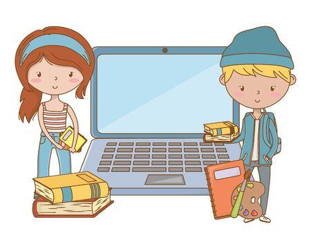Teenager boy and girl cartoon design Reklamní fotografie - 138200687