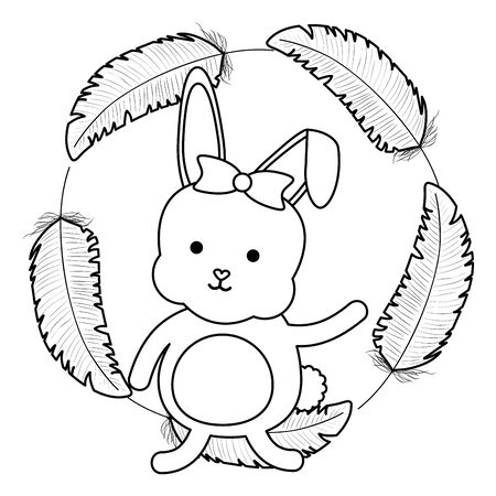 cute little rabbit with feathers frame