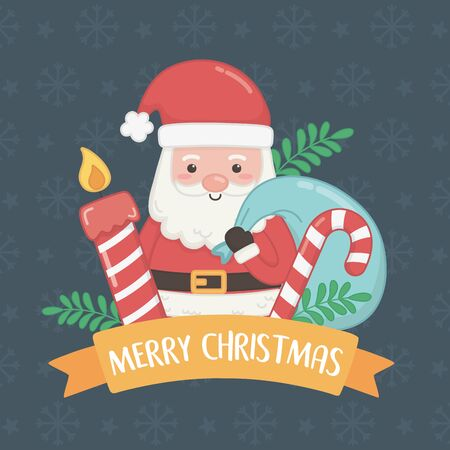 merry merry christmas card with santa claus and sweet cane