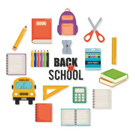 back to school set icons 일러스트