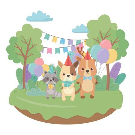 Animals cartoons with happy birthday icon design Stock Vector - 138200271