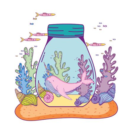cute narwhal in jar