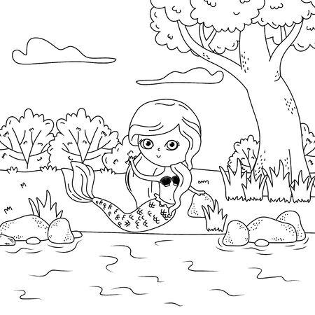 Mermaid of fairytale design vector illustration 版權商用圖片 - 138221986