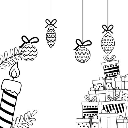 Merry christmas gifts and candle vector design