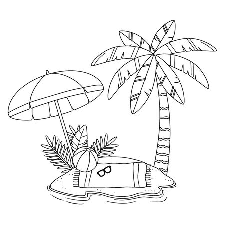 Summer and vacation icon set design