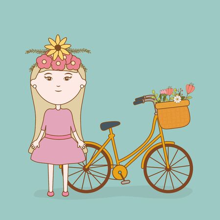 girl with head flowers and bicycle with basket cartoon
