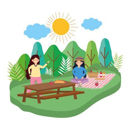 Women friends having picnic design Foto de archivo - 138200388