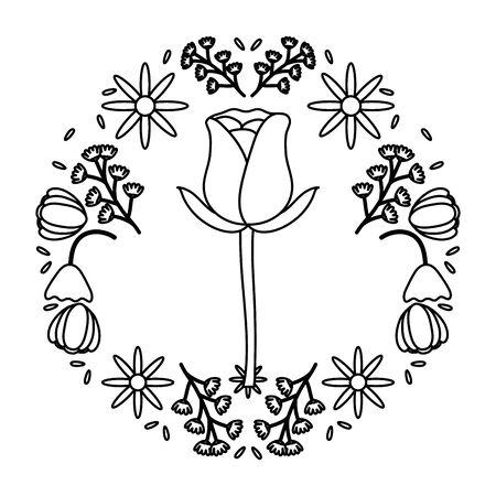 rose flower garden with floral wreath vector illustration design Archivio Fotografico - 138200582