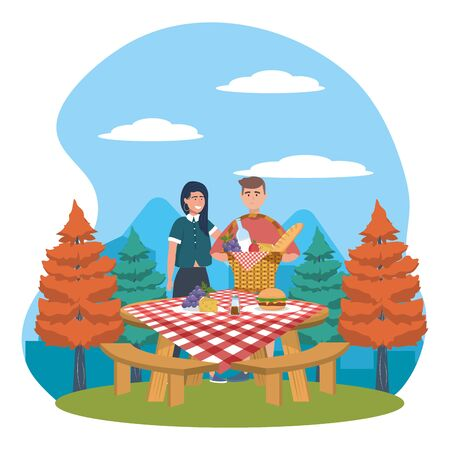Woman and man cartoon having picnic design, Food summer outdoor leisure healthy spring lunch and meal theme Vector illustration Foto de archivo - 138201521