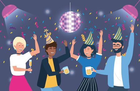 cute women and men with hat and lights decoration to party celebration, vector illustration Illusztráció