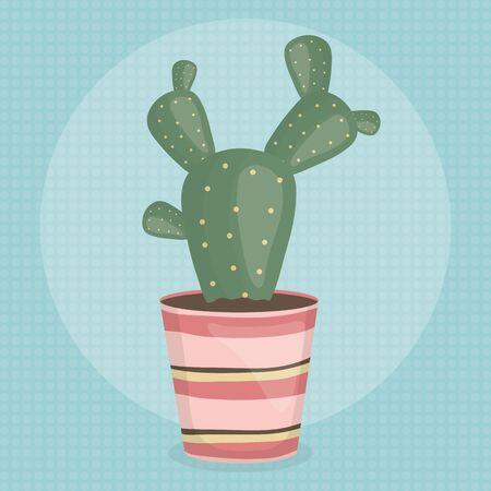 exotic cactus plant in ceramic pot vector illustration design