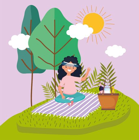 young happy woman with basket picnic in the park vector illustration Ilustrace