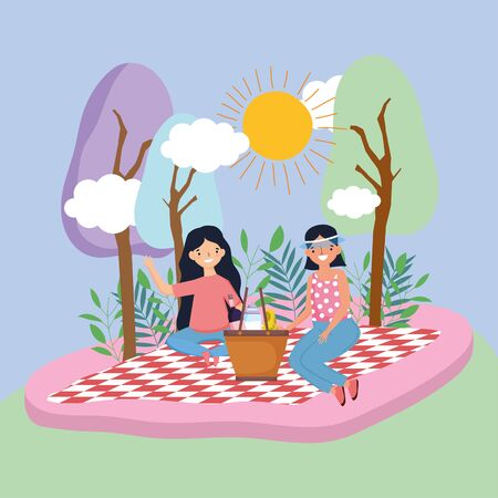 young people picnic in the park Ilustrace