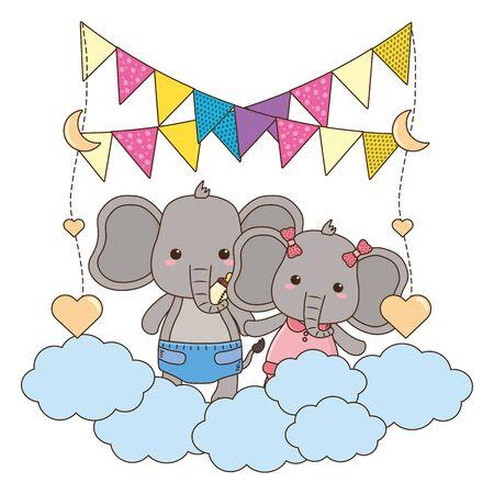 Isolated baby elephants cartoons design