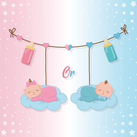 Baby shower of a girl and boy design Ilustrace