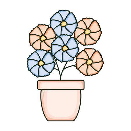 beautiful flowers garden in ceramic pot Archivio Fotografico - 138202555