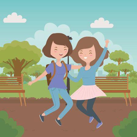Teenager girls cartoons design vector illustration
