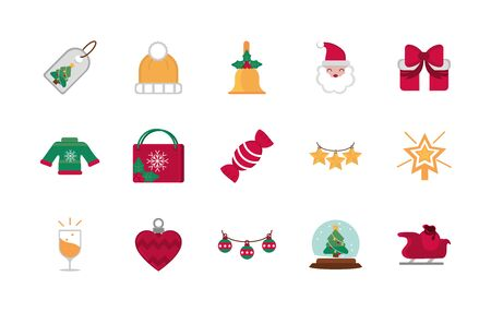 celebration decoration happy christmas icons collection 일러스트
