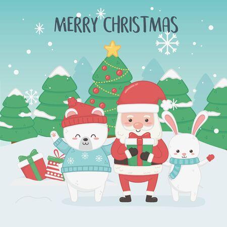 szczęśliwa wesoła kartka bożonarodzeniowa z mikołajem i zwierzętami